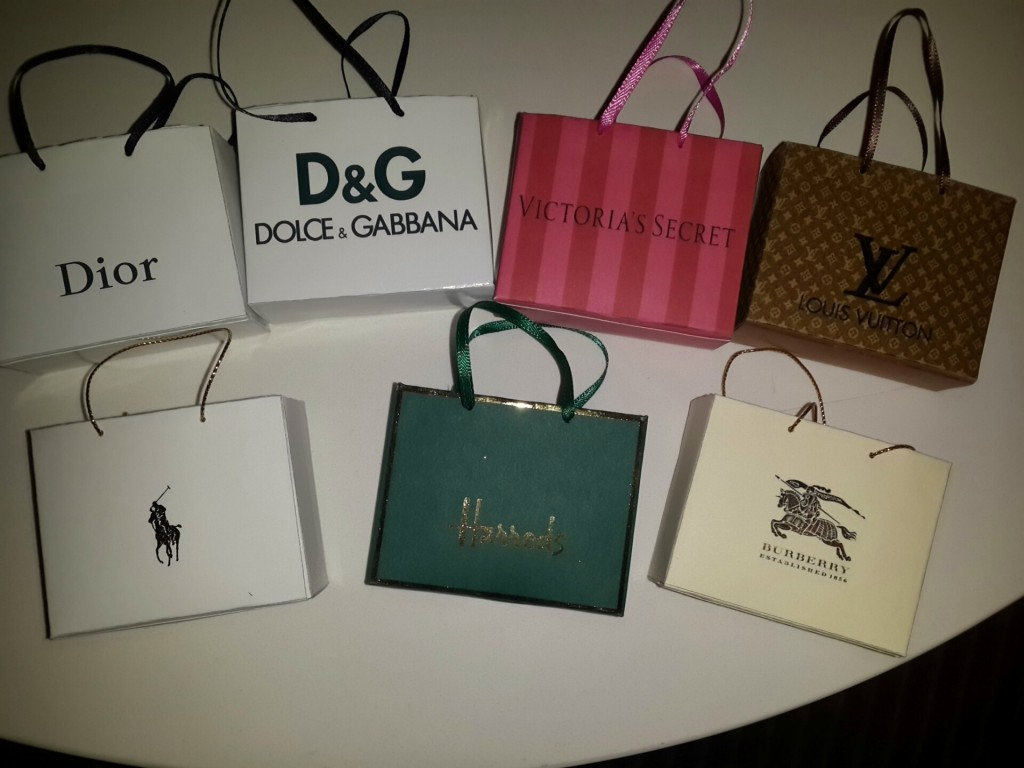 Miniature shopping bags (large)